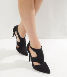 Black Suedette Cut Out Pointed Heels