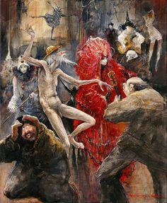 """Marcel Nino Pajot.   """"Don Quichotte, au bal chez la comtesse"""". Technique mixte sur toile. A noter l'évocation des sculptures de Martine Kerbaol."""