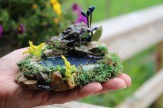 OOAK Miniature Pond, Fairy Pond, Diorama Pond, Terrarium Pond, Home Decor, Fairy Garden Decor