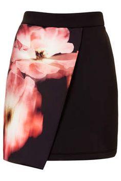 Floral Scuba Wrap Skirt