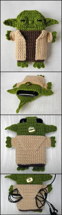 Lovely Crochet Star Wars Yoda iPhone Case - 50 Free Crochet Phone Case Patterns - Page 3 of 5 - DIY & Crafts Star Wars Crochet, Crochet Stars, Crochet Gifts, Diy Crochet, Star Wars Yoda, Crochet Hat Tutorial, Beau Crochet, Crochet Phone Cases, Amigurumi Patterns