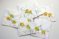 easter chick cards (3yr old did chicks, 1yr old added grass) nice collaborative project for M & R