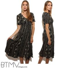 90s LAYERED TRIBAL MAXI drape floral black rayon short sleeves overlay grunge long gown dress summer festival crinkle M L
