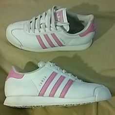 Adidas Samoa Pink and White Striped Shoes White with pink stripes.. Adidas Shoes Sneakers