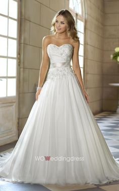 Cheap Crystal Sweetheart A-line Satin Wedding Gown - Cheap Wedding Dresses Wholesale and Retail Online Store