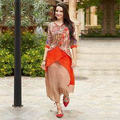 Buy Beautiful Orange-Beige Designer Printed Georgette Kurti at Rs. 1699/- latest Partywear Kurti for womens at Ethnic Factory. ✓Genuine Products ✓ Easy Returns ✓ Best Pricing #Ethnicfactory #fairprice #ethnicwear #fashion #India #kurti