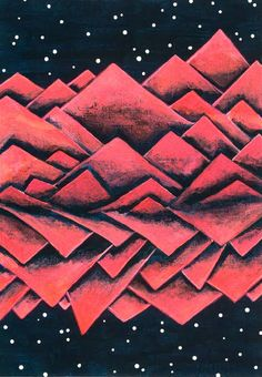 Funky Mountains No. 3 - by Tanja Zinkl 20,9 x 14,8cm ca. 8,2'' x 5,8'' acrylic on PAPER  This ORIGINAL acrylic painting was inspired by a trip to the Austrian Alps and features a surreal mountain range in neon pink/orange against a dark blue night sky with stars. It was made with acrylic paint on paper.