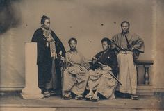 Matsudaira Tadanari (second from the left), who ruled the Ueda domain during the 1860s, sits for a photograph with a group of unidentified samurai,according to the Tokyo Metropolitan Museum of Photography. Tadanari was related toone of the most powerful samurai lineages in Japanese history, the Tokugawa clan, which dominated the country from 1600 to 1868.