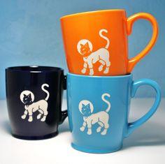 green astro cat mug