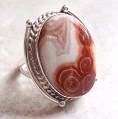 Mexican Lace Agate Sterling Silver Ring size 71/2 by cutterstone, $55.00