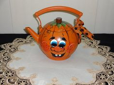 Hand Painted Pumpkin Tea Kettle Fall Decoration by VickiesCrafts, $25.00