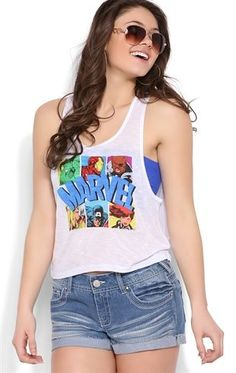 Deb Shops rayon slub cropped tank with #marvel comics screen $9.00