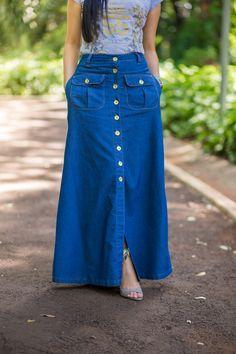 saia longa jeans Mais