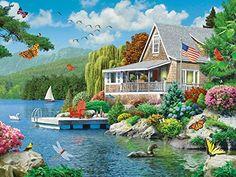 Lakeside Memories - EzGrip Jigsaw Puzzle by Masterpieces Cartoon House, Different Birds, Cottage Art, Fantasy Landscape, Amazing Gardens, Jigsaw Puzzles, Beautiful Places, Memories, Wallpaper