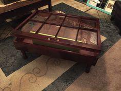 Rustic coffee table shadow box coffee table reclaimed windows