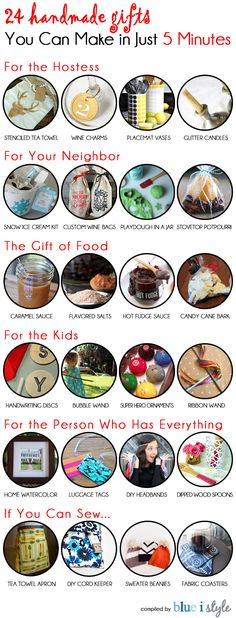24 Handmade Gifts you can make in just 5 MINUTES! There's something for ever… 24 Handmade Gifts you can make Easy Handmade Gifts, Easy Gifts, Creative Gifts, Homemade Gifts, Cool Gifts, Simple Gifts, Diy Christmas Gifts, Holiday Gifts, Christmas Carol