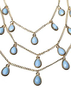 FRED TSUYA | Teardrop Necklace in Blue -  - Style36 Teardrop Necklace, Plate, Blue And White, Jewelry, Women, Fashion, Moda, Dishes, Jewlery