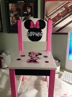 Pink Minnie Mouse childrens chair. $70.00, via Etsy.