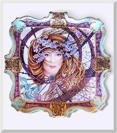 Porcelain Platter with Art Nouveau Maiden