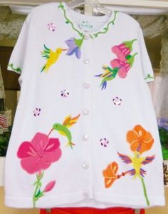 Quacker Factory Embroidered Tropical Floral Birds Sweater #QuackerFactory #Cardigan