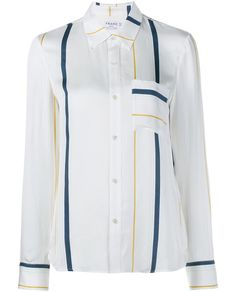 FRAME DENIM   Silk-Blend Stripe Long Sleeve Shirt
