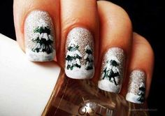 Wonderful Winter Nail Art Designs - Glitter Christmas Tree Winter Nail Art Design