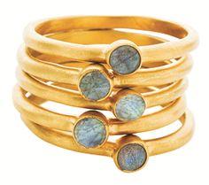 Gypsy Queens Gold Inlaid Labradorite Five Ring Set $151