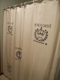 French Script Shower Curtain - www.GreenMountainBoho@Etsy.com