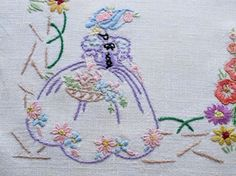 vintage hand embroidered tray cloth crinoline lady