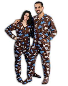 Dinosaur Print Cotton Flannel Footed Pajamas