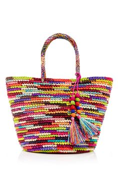 Rainbow Woven Straw Tote With Tassels by SENSI STUDIO Now Available on Moda Operandi