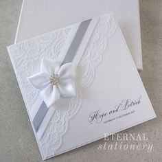 Elegant lace Wedding Invitation Created by Eternal Stationery www.eternalstationery.com.au