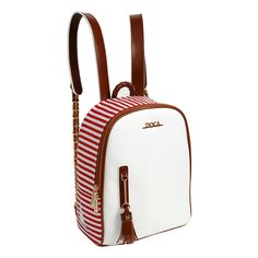 White backpack for women with striped print in red colour, gold metal details and knitted design on the handle with shoulder straps from the Doca Spring-Summer 16 collection.