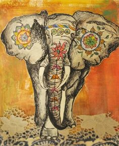 Indian elephant art. I would love this as a tattoo