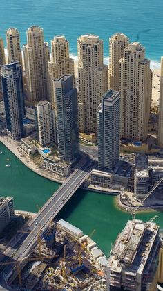 dubai, uae, buildings, skyscrapers, coast, sea, bridge