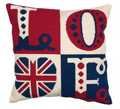 Love Letters Cushion Kit Anchor Needlepoint Tapestry Kit Kit contains: full colour printed 12 count canvas, Anchor Tapisserie Wool, Needlepoint Pillows, Needlepoint Kits, Needlepoint Canvases, Cross Stitch Kits, Counted Cross Stitch Patterns, Union Jack Bedroom, Union Jack Cushions, British Decor, Letter Cushion