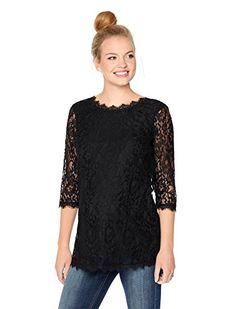 e8b2e7c787bd0a Motherhood 3 4 Sleeve Lace Back Zip Maternity Blouse at Amazon Women s  Clothing store