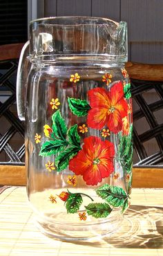 Hand Painted Pitcher With Bright Red Flowers by ipaintitpretty, $30.00 #handpaintedpitcher #paintedglasspitcher #redfloweredpitcher #paintedglassware