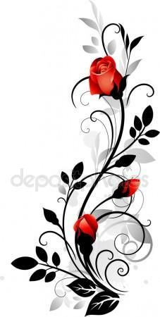 Ornament with roses – kaufen Sie dieses stock-vektorgrafik auf Shutterstock un… Ornament with roses – Buy this stock vector artwork on Shutterstock and look for more pictures. Vine Tattoos, Flower Tattoos, Body Art Tattoos, Tattoo Arm, Tattoo Ribs, Rose Illustration, Art Floral, Fabric Painting, Painted Rocks