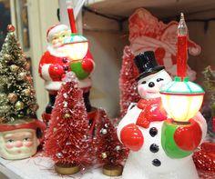 Vintage style Santa and Snowman bubble lights!