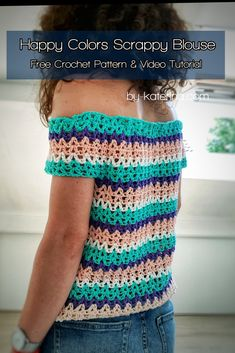 An easy and fun project to try and a great way to use your left over yarn. Crochet Tank Tops, Crochet Summer Tops, Crochet Skirts, Crochet Blouse, Crochet Clothes, Free Crochet, Knit Crochet, Crochet Woman, Happy Colors