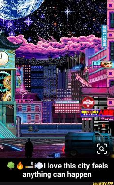 [OC] I know this is pixel art and a bit cyber punk, but Vaporwave is my first love, so I'm posting it here. Cyberpunk City, Cyberpunk Aesthetic, City Aesthetic, Retro Aesthetic, Aesthetic Anime, Japanese Aesthetic, Cyberpunk Tattoo, Vaporwave Wallpaper, Animes Wallpapers