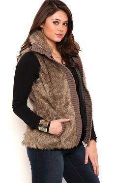 Deb Shops Fur Vest with Sweater Knit Trim $30.00