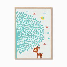 NURSERY  The Deer the Bird and the Tree Poster door SealDesignStudio, $19.00