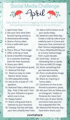 April Social Media Challenge - CinchShare Blog