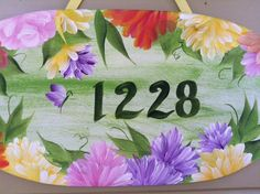 Painted Welcome Signs | Hand Painted Floral Address / Welcome Sign by ThePaintedPetal