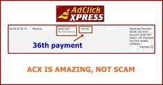 WOWWW Got my 36th payment from AdClickXpress .. :)  Date: 06:09 07.09.15 To Pay Processor Account = U9489027 Amount: 56.88 Currency: USD Batch: 101102493 Memo: API Payment. Ad Click Xpress Withdraw 4406187-131968. Payment ID: 131968   Here is link... Join.. http://www.adclickxpress.com/?r=m5hshz29jwr&p=mx