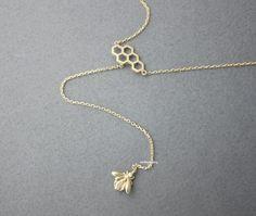necklace,Jewelry,geometric,flower,nature,minimalist,garden,hexagon,honeycomb,nature inspired,Bee necklace,lariat necklace,drop necklace,geometric necklace,Honeycomb necklace Fantastic bee and honeycom