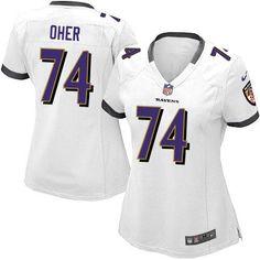Nike NFL Baltimore Ravens 74 Michael Oher Elite Women White Road Jersey Sale