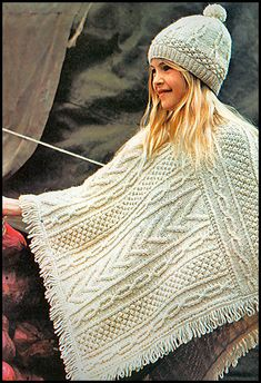 lovely cabled poncho design for a girl